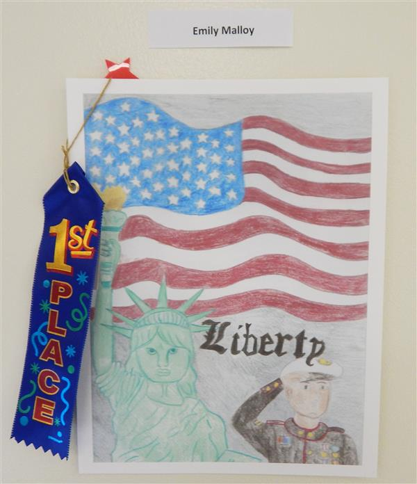 Emily Malloy Received 1st Place in the VFW's Young American Creative Patriotic Art Awards Contest