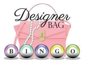 Pink Purse with the words Designer Bag Bingo in front