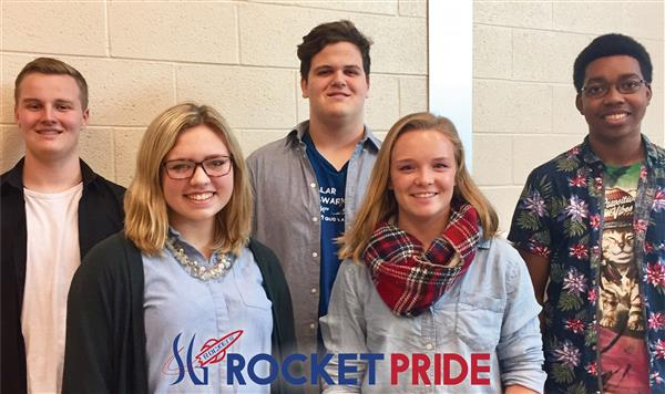 five students group picture with rocket pride logo