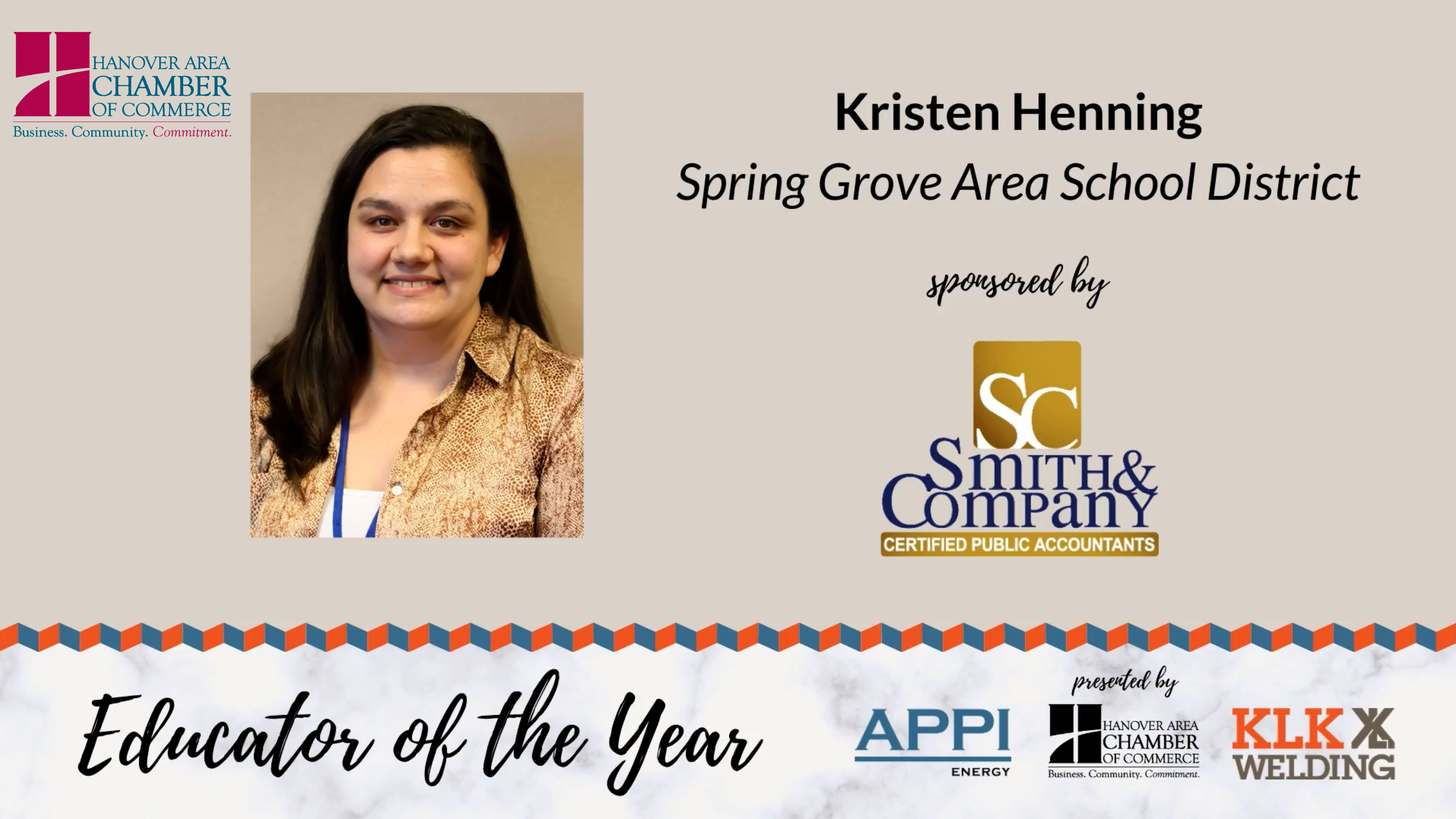Hanover Chamber Educator of the Year Kristen Henning