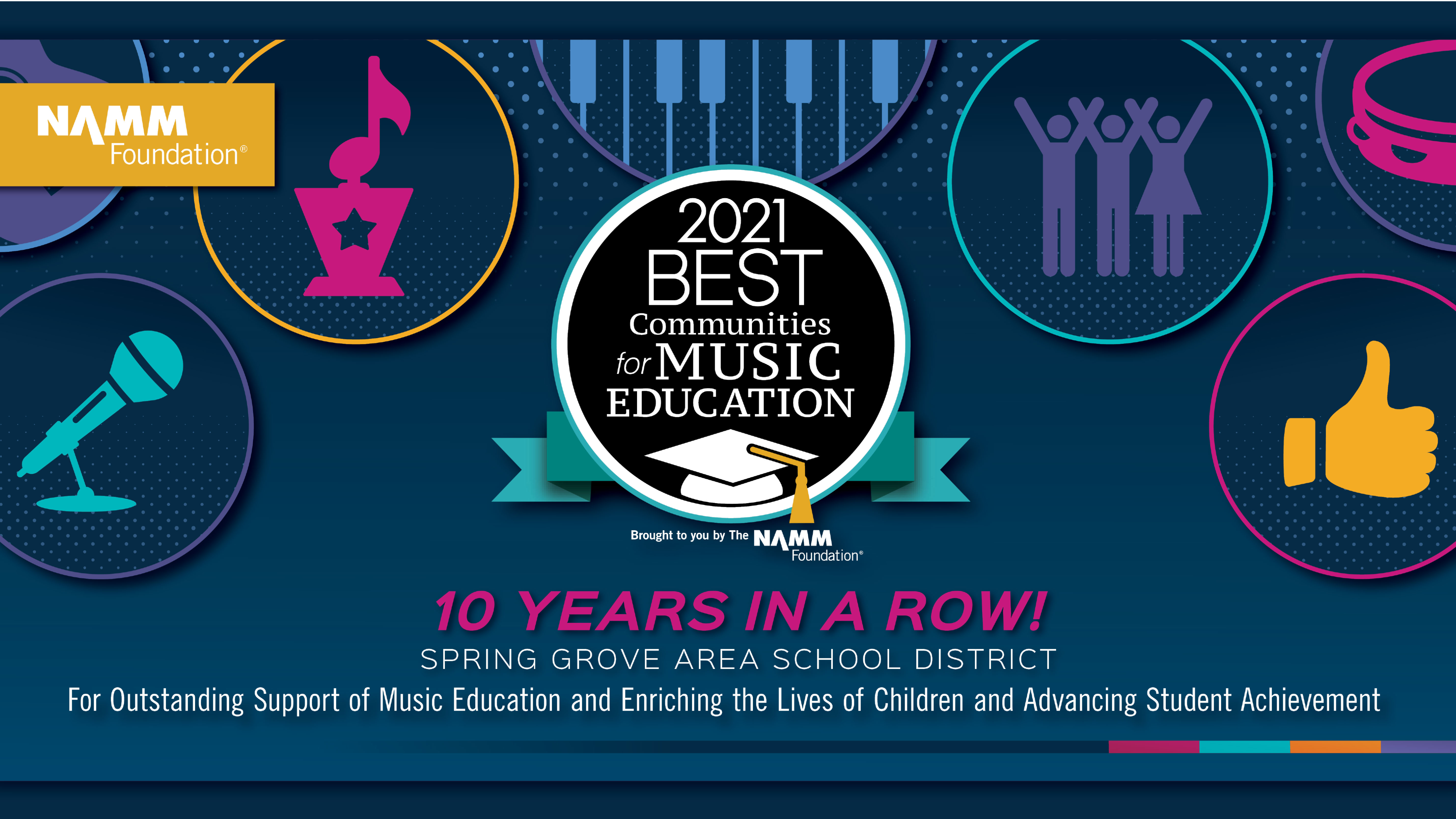 2021 Best Communities for Music Education - 10 Years in a Row