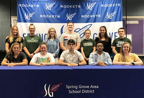 group picture of student athletes committed to playing in college