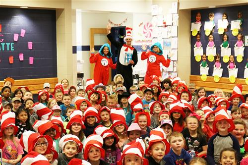 Thing 1 and Thing 2 from David Ross Orthodontics reading the Cat and the Hat