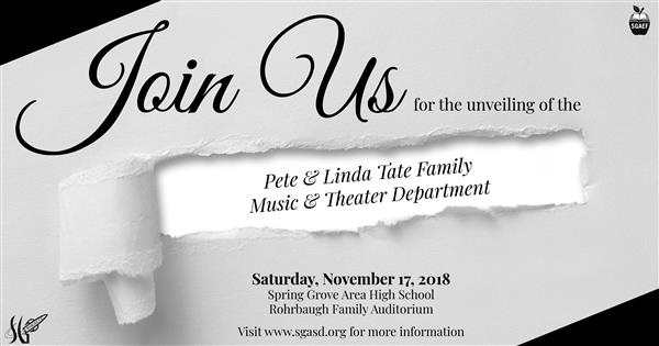 Join Us for the Unveiling of the Pete & Linda Tate Family Music & Theater Department