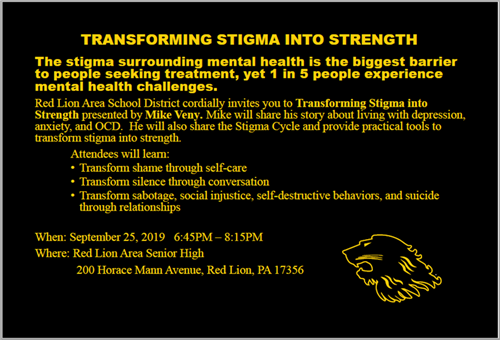 Mental Health Program at Red Lion - Sept. 25