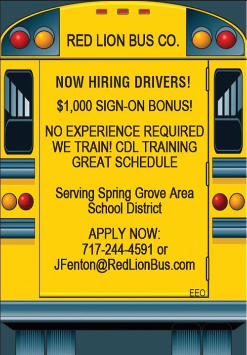 Red Lion Bus Co. Now Hiring Drivers