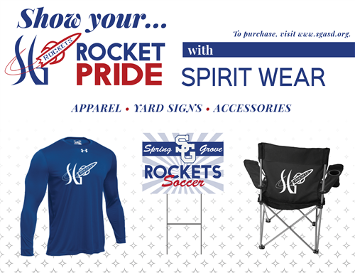 Show your SG Rocket Pride with Rocket Spirit Wear. Apparel, Yard Signs, Accessories