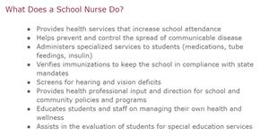what does a school nurse do?