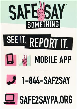 Safe2Say Something Poster. See It. Report It.